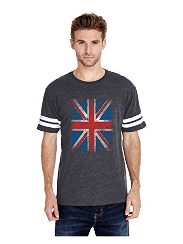 British Flag Union Jack Distressed Adult Unisex Football Fine Jersey Tee (MHNB) Heather Navy ()