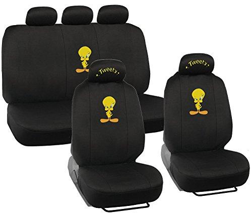 Tweety Bird Car Seat Covers - Auto Interior Gift Set - 2 Front Seat & 1 Rear Seat, Full Set