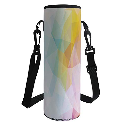 iPrint Water Bottle Sleeve Neoprene Bottle Cover,Abstract,Pale Modern Rainbow Ombre Colored Image Squares and Sharp Lines,Yellow Pink and Light Blue,Fit for Most of Water Bottles by iPrint