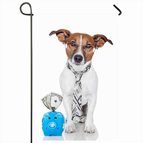 Ahawoso Seasonal Garden Flag 12x18 Inches Economy Money Dog Piggy Bank Sports Recreation Baby Save Terrier Funny Financial Pay Design Debt Home Decorative Outdoor Double Sided House Yard Sign