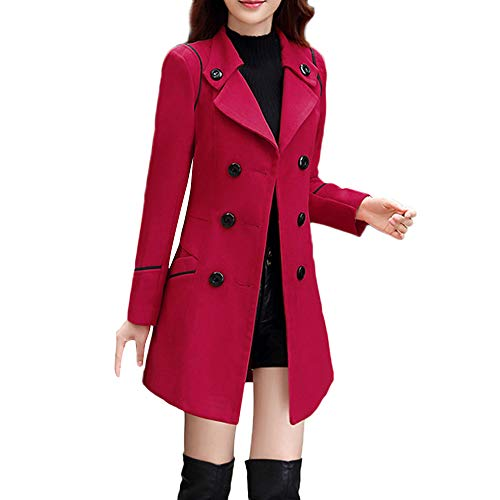 Woaills-Tops 2018 Women Elegant Long Sleeve Work Office Jacket,Ladies Wool Double Breasted Coat (L, Wine)