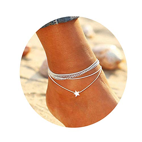 - FAXHION Silver Multilayer Star Anklet - Cute Anklets for Women - Summer Beach Casual Anklet Chain Foot Jewelry Barefoot Sandals
