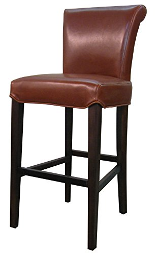 New Pacific Direct Bentley Leather Counter Stool 26 ,Brown Legs,Cognac Brown