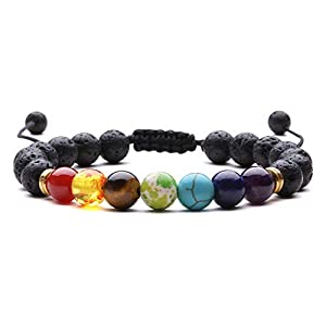 J.Fée Natural Gemstone Healing Bracelet 8mm Beads Stretch Bracelet Therapy Chakra Bracelet Unisex Semi Precious Stone Bracelet with Gift Box for Valentine's Day Women&Men Gift