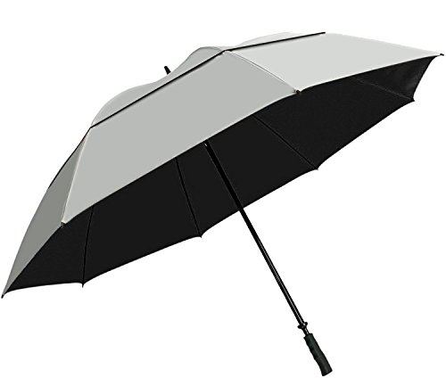 "SunTek 68"" UV Protection Windcheater Umbrella with Vented Canopy - Silver/Black"
