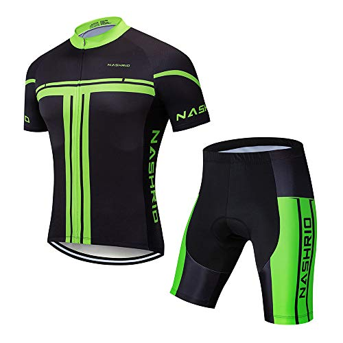 (NASHRIO Men's Cycling Jersey Set Road Biking Short Sleeves Kit with 4D Padded Gel Clothing Full Zipper Closure Bicycle Quick-Dry Breathable Sports Gear Assorted Color - Ideal Gift Idea (Green))