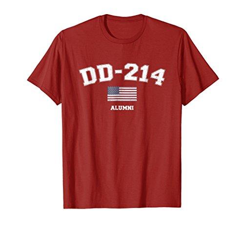 DD-214 US Armed Forces Alumni USA Flag Vintage Red T-Shirt