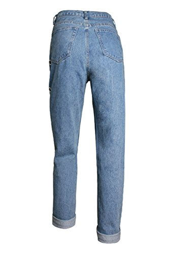 Blu Donne Taglia Le Si Girovita 3xl Pantha Baggy Jeans Eyelet Dazosue Sqz5gn