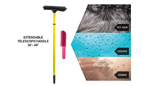 Evriholder 250I-180I-AMZ, FURemover Pet Hair Removal Broom and Lint Brush Combo with Squeegee and Telescoping Handle That Extends from 3-5' by Evriholder (Image #1)