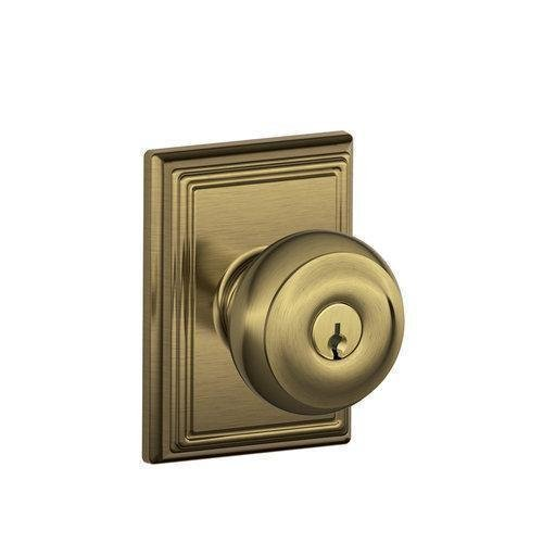 Schlage Lock Company F51AGEO609ADD Antique Brass Georgian Keyed Entry F51A Panic Proof Door Knob with Addison Rosette by Schlage Lock Company