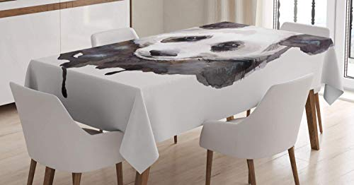 Animal Tablecloth,Watercolor Cute Panda Bear Animal Asian Wildlife Zoo Theme Artwork Image,Pattern Spillproof Modern Tablecloth,61W X 100L Inch White Beige ()