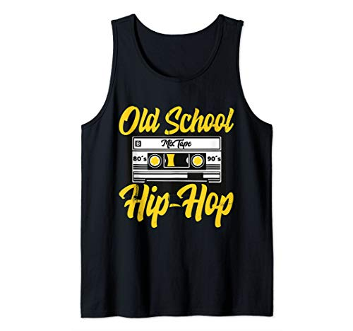 Retro Old School Hip Hop 80s 90s Mixtape Cassette Gift Tank Top]()
