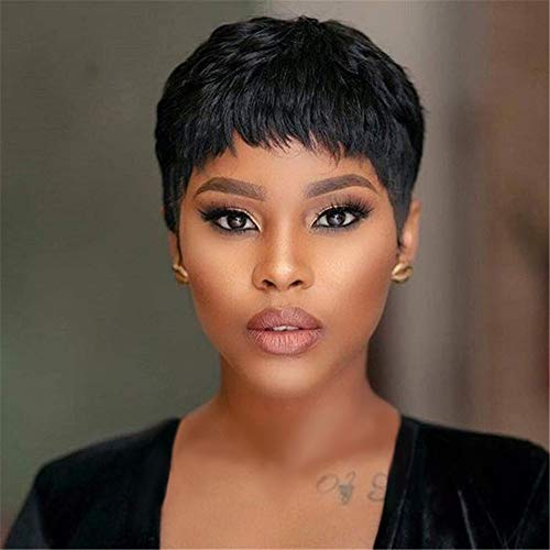 Lcbwig Short Straight Wigs Pixie Cut Hair Choppy Bangs For Black Women Heat Resistant Synthetic Full Black Crop Wigs Buy Online In China At Desertcart Productid 132414830