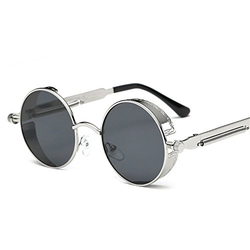 de de Gafas Color la RFVBNM sol Señora Marco de Actual Retro la reflexivo Redondo de de Pierna I K Sol Gafas Metal Espejo Pierna fZ8qZPn