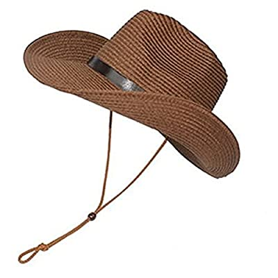 LUOEM Cowboy Sun Hat Wide Brim Hat Summer Beach Straw Cap Foldable Caps (Coffee)