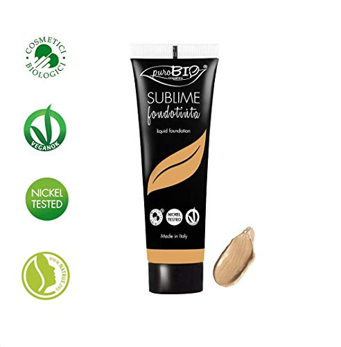 PuroBIO Certified Organic SUBLIME Revolutionary Long-Lasting, Liquid Foundation with Anti-Aging and Mattifying properties, Color 05 SunTan. Contains Antioxidants, Vitamins, Plant Oils. ORGANIC. VEGAN. NICKEL TESTED. MADE IN ITALY