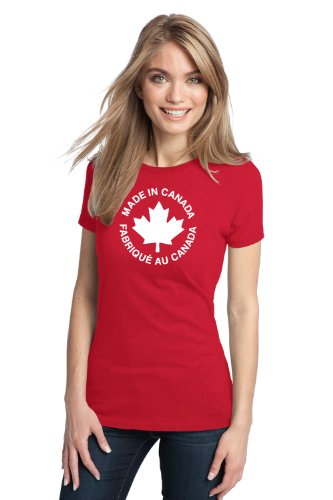 JTshirt.com-20099-MADE IN CANADA, FABRIQUE AU CANADA Ladies\' T-shirt / Canadian Pride, Perfect for Friends who came out of a Canadian-B009N3M9ZO-T Shirt Design