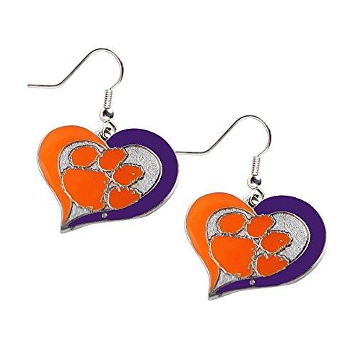 aminco Clemson Tigers Swirl Heart Dangle Logo Earring Set Charm Gift NCAA ()