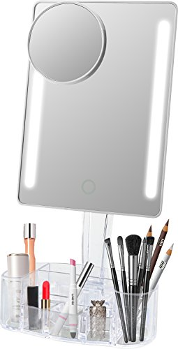 Lighted Makeup Mirror  Leju Touch Screen Led Table Makeup Mirror  Three Panel 21Pcs Led Light Tabletop Cosmetic Mirror With Usb Cable 2X And 3X Magnification     Mirror With Makeup Organizer