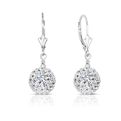 14k Gold 10mm White Crystal Disco Ball Dangle Drop Earrings with Leverback (white-gold)