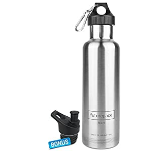 BLACK FRIDAY PACK SPECIALS - BEST STAINLESS STEEL INSULATED SPORTS WATER BOTTLE-Large Silver, Office, Gym, Running, Cycling, Hiking 750ml / 25oz- BPA FREE by Futurepace Tech -HYDRATE ON THE GO!