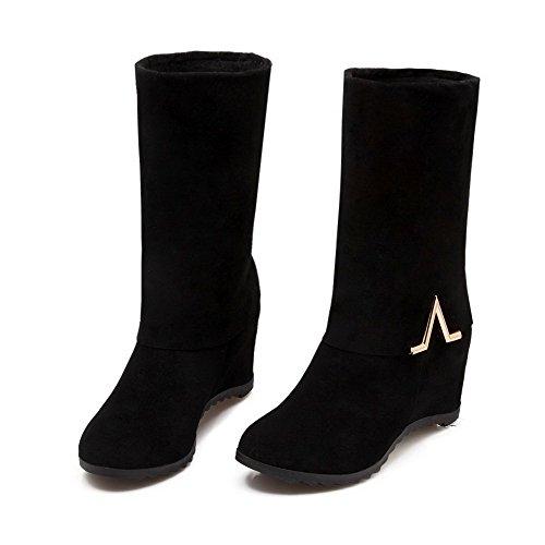 Toe Black Closed on Kitten Round Pull Women's Boots Flock Solid Allhqfashion Heels wSZOqzn7x