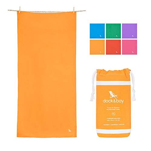 - Dock & Bay Lightweight Microfibre Towel for Travel - Sahara Orange, 40 x 20 - Hike, Sports & Gym - Fast Dry, Compact & Portable