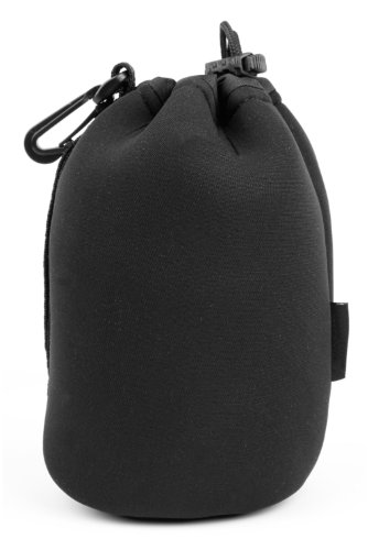 DURAGADGET Super-Soft Neoprene Camera Lens Pouch/Case in Jet Black for The Cosina Voigtlander Classic NOKTON 35mm f/1.4 Lens ()