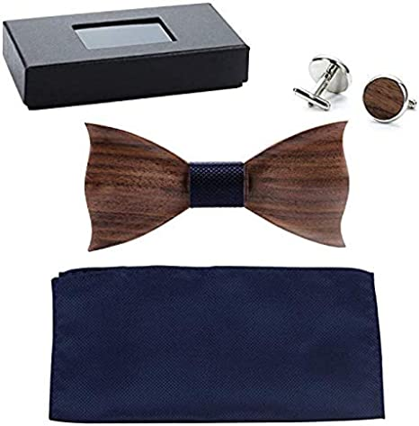 Color : 165, Size : Free Size Xiejuanjuan Wooden Bow Tie Mens Striped Square Cufflinks Bow Tie Set High-end Color Printed Wooden Bow with Gift Box