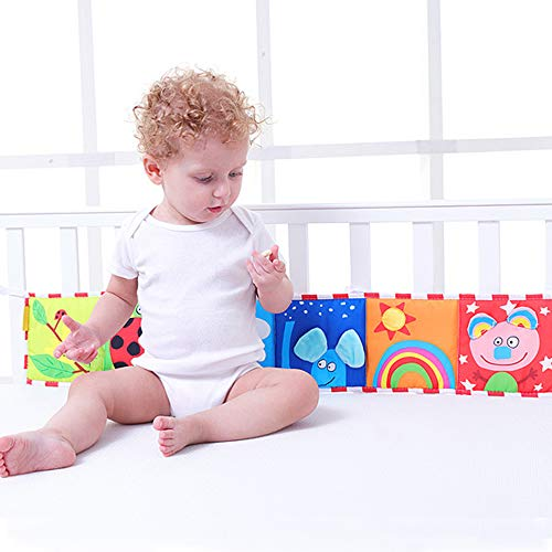 Zamango Crib Bumper, Baby Cloth Book Around Colorful Bed Bumper for Kids Toy Baby Learn Picture Cognize Book Soft Cloth