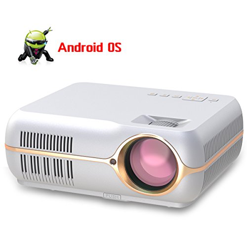Notebook Wireless Portable (Android Wireless Projector,Portable HD LCD Movie Video Projector for Home Cinema Theater/Computer/TV/Laptop/Gaming/SD/iPad iPhone/Android Smartphone (Android Smart Version, White))