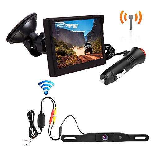 B-Qtech Wireless Backup Camera and Monitor Kit - Mini Rear View Reverse Camera and 4.3 inch Digital Monitor for Truck Camper Trailer Bus Van Removable Guild Line Mirror/Normal Image No Interference