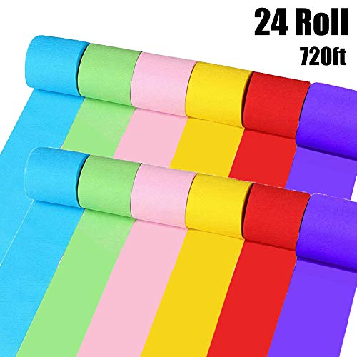 24 Rolls Polychromatic Crepe Paper Streamers for Various Decorations,Party Backdrop Decorations,Birthday,Christmas,Theme Parties,DIY