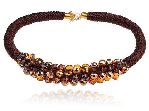 [Alilang Shimmering Cluster of 1970s Disco Ball Beads Twisted Rope Choker Necklace] (70s Jewellery Disco)
