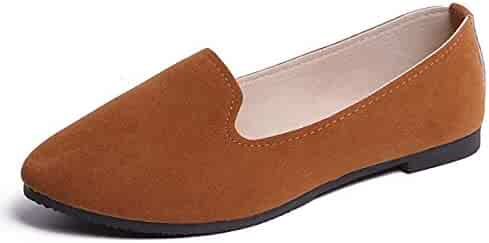04a903951 DeerYou Classic Suede Ballet Flat Comfort Driving Loafers Slip On Round Toe  Walking Ballerina Shoes