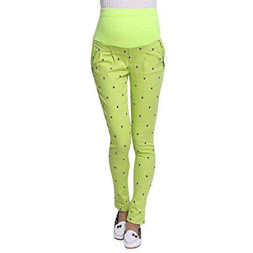 Highdas embarazadas Mujeres abdominales pantalones de maternidad de alta elasticidad pantalones de las polainas del vientre amarillo fluorescente