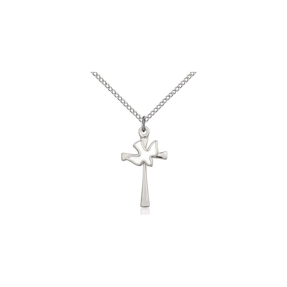 DiamondJewelryNY Sterling Silver Cross//Holy Spirit Pendant