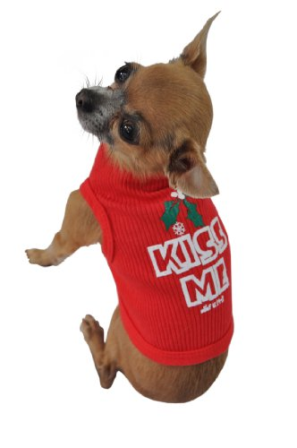 Ruff Ruff and Meow Doggie Tank Top, Kiss Me, Red, Large