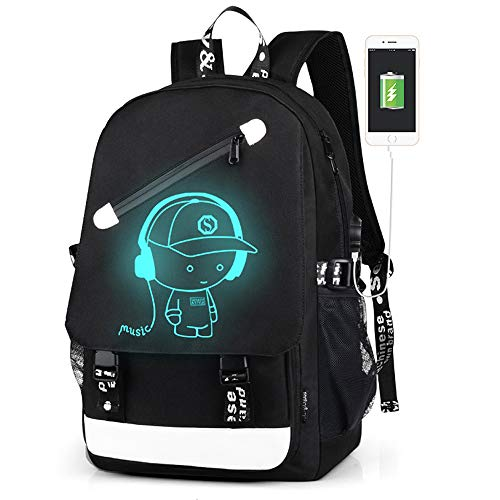 - Lmeison Anime Luminous Backpacks, Teens Backpack Bookbags with USB Charging Port for Men Women, Bookbags for Boys Lightweight Anti-Theft Travel Daypack College Student Rucksack