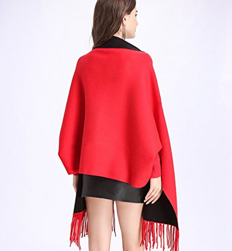 Bordados Creativo De Suéter Del WanYang De Para Negro Mujeres Pañuelos Punto Cárdigan Abrigo Rojo Chal Mujer IwqAgg5
