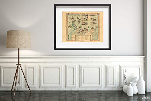 Map The Chicago Zoological Park : at Brookfield Near Riverside 1950 Vintage Fine Art Reproduction Size: 18x24 Ready to ()