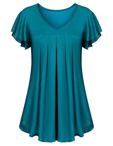 Misheep Flowy Tunic, Lady Loose Fitting Tops for Women V Neck Blouses Chiffon Boutique Double Layered Summer Shirt Travel Outfits Short Flutter Sleeves Flare Swing Hemline Clothes Blue M