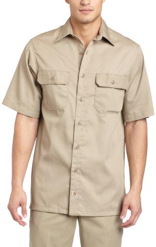 Carhartt Men's Big & Tall Twill Short Sleeve Work Shirt Button Front,Khaki,XXX-Large ()