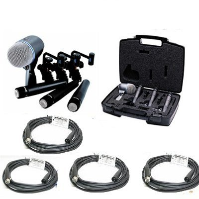 20' Whirlwind Xlr Cable - Shure DMK57-52 Drum Microphone Kit + (4) XLR Cables Bundle (8 items)