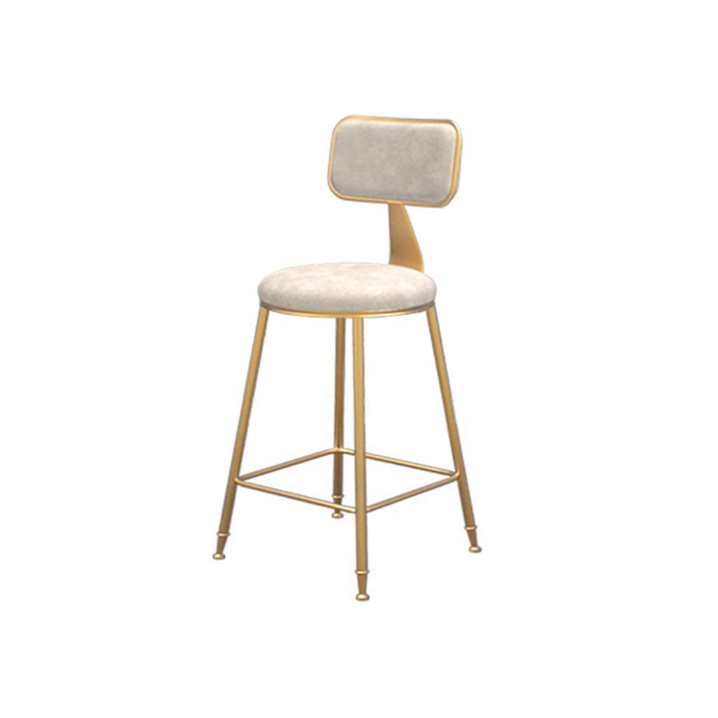 White 45cm high Simple bar Chair Flannel Barstool Dining Chair High Stool Leisure Chair (color   White, Size   45cm high)