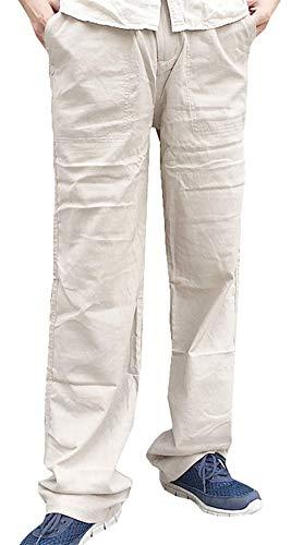 In Casual Da Lino Khaki Tessuto Uomo A Giovane Larghi Pantaloni Ampi Di Vita Saoye Fashion Comodi Bassa Cotone Lunghi UIwtv0Wq1