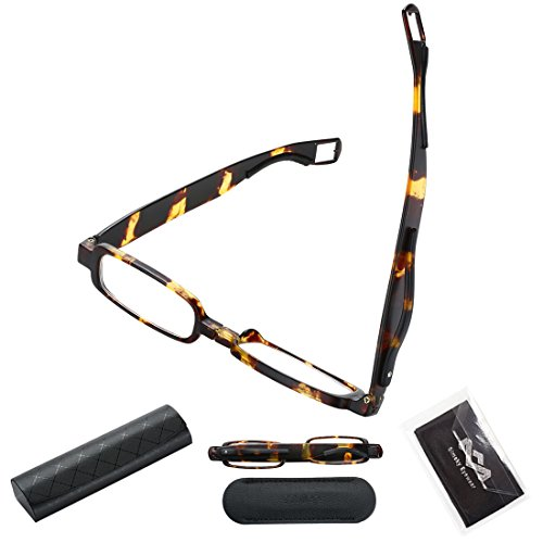 1 Reading Glasses Men Women Folding Designer Flexible Portable Cute Small Compact 360° Rotating Mini Clip Readers Fashion Tortoise Contemporary Square Unbreakable Tr90 1.0 Pocket Glass