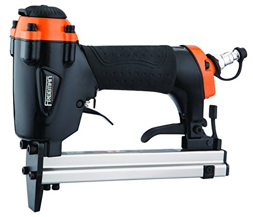 Freeman P2238US 22 Gauge Pneumatic Upholstery Stapler Ergonomic & Lightweight Nail Gun with Extension Nose & Safety Trigger for Upholstery, Cabinets, Fabric, Screens