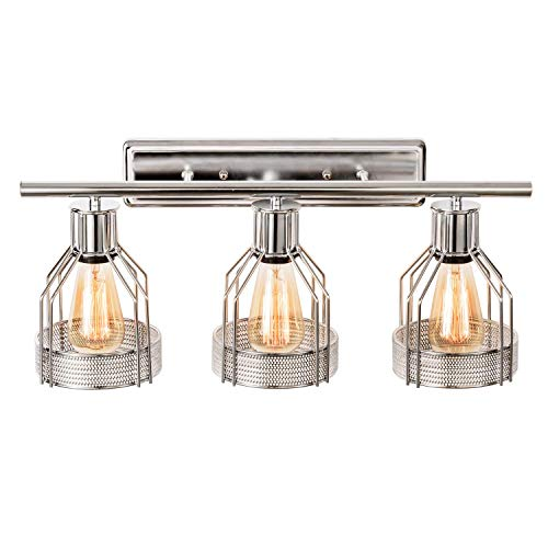 - Modern 3 Light Fixture Vanity Bathroom Wall Light Fixtures with Chrome-Plated Metal Wire Cage Gladfresit Industrial Home Indoor Sconce for Dressing Table Mirror Cabinet Vanity Table(Bulb Not Included)