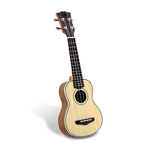 Pyle Spruce Wood Soprano Ukulele - Spruce Face, Black Walnut Back, Sides, Fingerboard & Bridge Mahogany Neck - Standard 4 String Starter Hawaiian Uke Guitar Easy for Beginners to Learn & Play - PUKT65 (Mahogany Traditional Wood Side)
